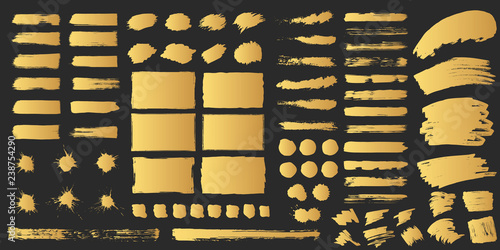 Photo Super big set of hand drawn golden grunge torn box shapes