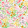 Various leaves, branches and flowers. Ethnic style. Hand drawn vector seamless pattern. Transparent background
