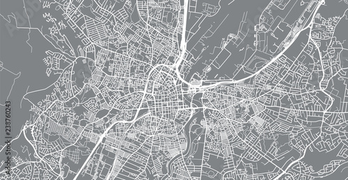 Fototapeta Urban vector city map of Belfast, Ireland
