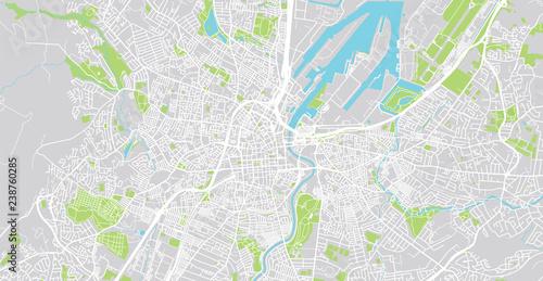Urban vector city map of Belfast, Ireland Wallpaper Mural