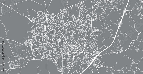 Urban vector city map of Lisburn, Ireland Wallpaper Mural