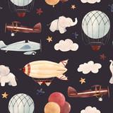 Watercolor aircraft baby pattern - 238762428
