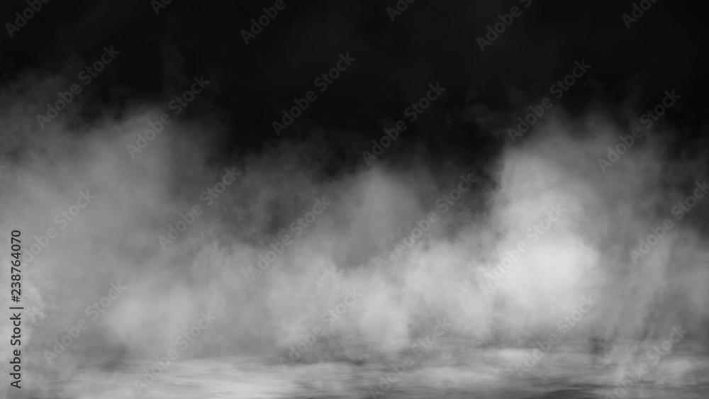 Fototapeta Fog and mist effect on black background. Smoke texture