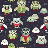 Fototapeta Pokój dzieciecy - Owls in winter seamless pattern. Seamless Christmas pattern. Scandinavian style. Owls at night seamless pattern.