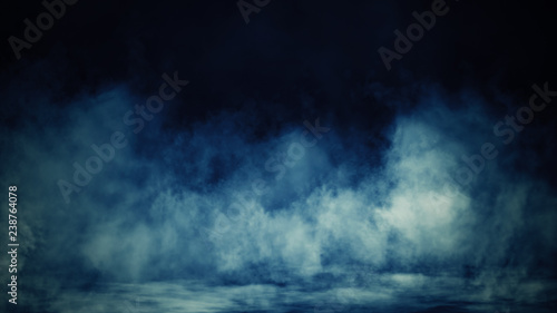 Fotobehang Rook Colorful smoke on floor . Isolated black background . Misty fog effect texture overlays for text or space