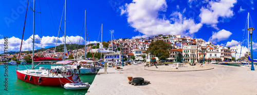Skopekos island- popular tourist summer destination in Greece. Old port