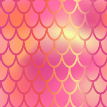 Red And Pink Mermaid Vector Background. Fish Scale Pattern. Mermaid Seamless Pattern Tile. Holographic Gradient