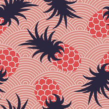 Seamless Summer Pattern. Pineapples On A Wavy Coral Background. Print For Textiles. Vector Illustration.