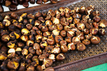 Bunch Of Roasted Chestnuts At Street Wendor