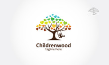 Childrenwood Vector Logo Illustration. A Love Tree With A Child Play The Swing Under The Tree, This Logo Symbolize A Protection, Peace,tranquility, Growth, And Care Or Concern To Development