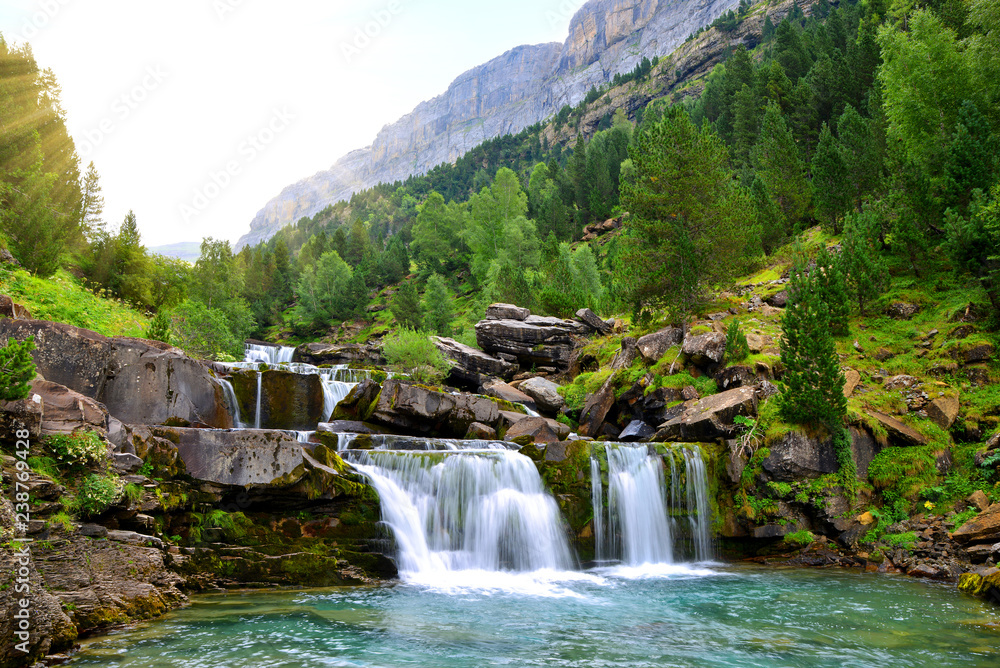 Fototapety, obrazy: Waterfall in Ordesa and Monte Perdido National Park. Pyrenees mountain. Province of Huesca, Spain.