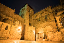 Main Entrance Of Holy Sepulchre Cathedral And The Courtyard In Front Of The Temple At Night. Jerusalem, Israel