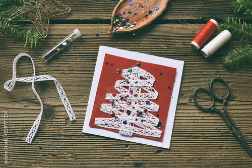 Making Of Handmade Christmas Greeting Card From Felt With Your Own