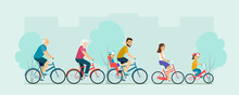 Active Family Riding On Bicycles. Flat Vector Illustration