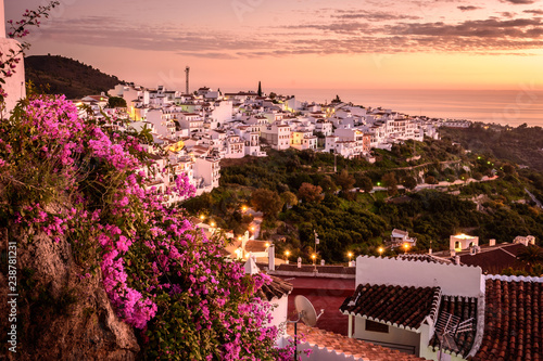 Fotomural Views from the town of Frigiliana (Malaga) at sunset
