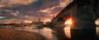 canvas print picture - Sonnenuntergang am Elbufer in Dresden mit Elbe und Altstadt - Kirch Brücke