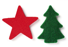 Red Felt Star And Green Felt Fir Tree Isolated Over White Background