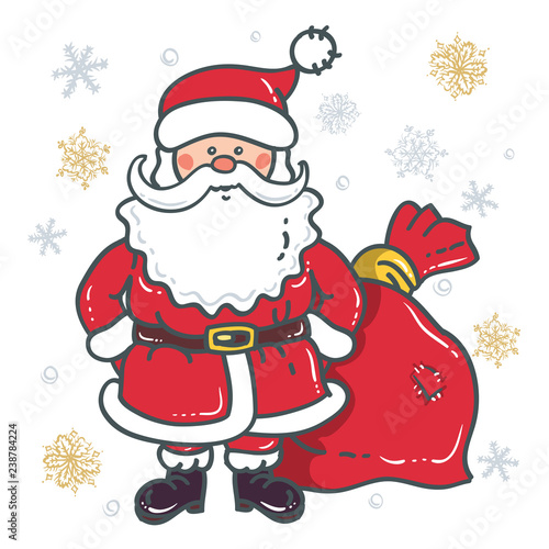 Fototapety, obrazy: Santa Claus Cartoon Character with bag on the background of snowflakes on a white background. Design for Christmas and New Year. Vector Illustration