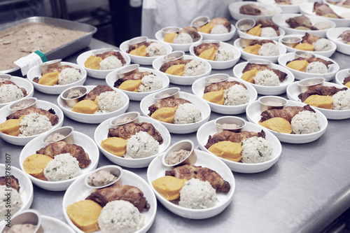 Foto op Aluminium Assortiment Airline food cooked in commercial kitchen, toned