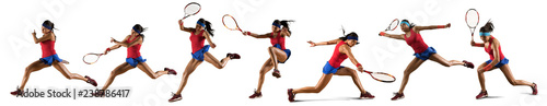 Female tennis player isolated