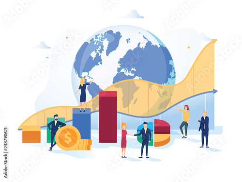 Fototapeta Stock market vector illustration. Flat mini money growth persons concept with positive and successful indicators global obraz