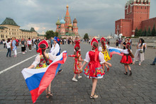 Moscow, Russia-June 19, 2018-Kids In National Costumes Dancing In Red Square