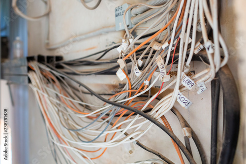A lot of Internet, Ethernet UTP cables and electrical cables