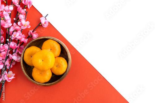 Fotografia  Chinese New Year Background - Cherry Blossom, Mandarin Orange dual tone background red and white