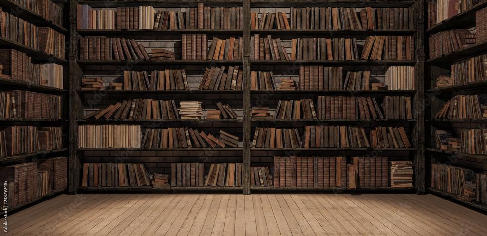 Fototapety, obrazy: Bookshelves in the library with old books 3d render 3d illustration