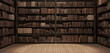 Bookshelves in the library with old books 3d render 3d illustration