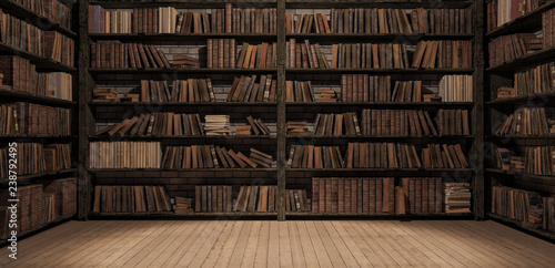 Fototapeta Bookshelves in the library with old books 3d render 3d illustration obraz