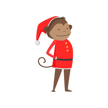 Cute Kind Monkey Symbol Of The New Year. Monkey In Santa Claus Clothes.
