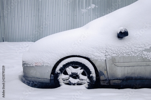 Fotografie, Obraz  car covered with snow ,car in the snow,car stuck in the snow