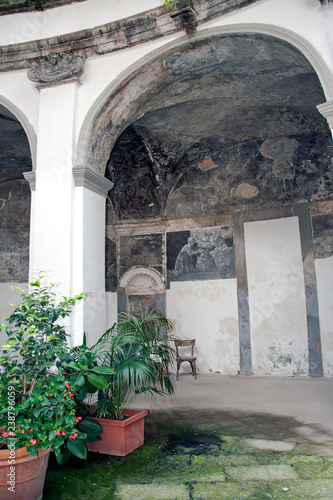 Frescoed portico's vaults of the cloister of Santa Maria della Sanità form 16t Canvas Print