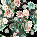 Watercolor pattern with cactus and rose . - 238799046