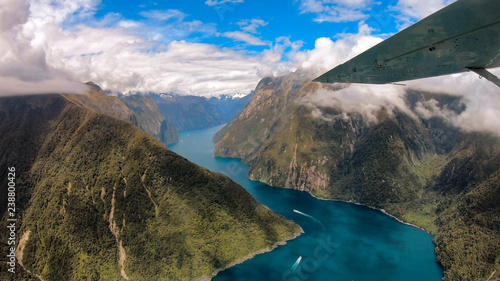 Staande foto Oceanië New Zealand. Milford Sound from above