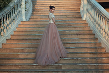 Beautiful Lady In Luxurious Ballroom Dress Walking Up The Stairs Of Her Palace. Baluster Railing On Both Sides. Vintage Concept