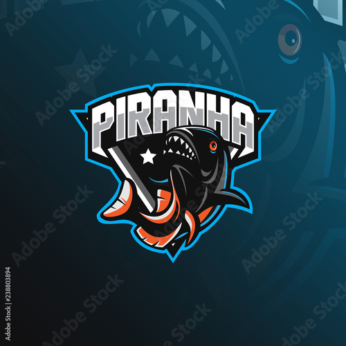 fish piranha mascot logo design vector with modern illustration concept style for badge, emblem and tshirt printing Wallpaper Mural