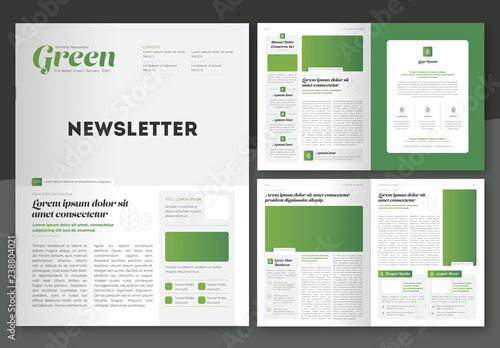 newsletter layout with green accents  buy this stock