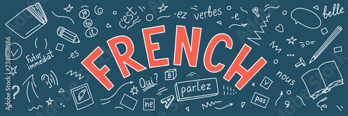 Fototapeta French. Language hand drawn doodles and lettering.  obraz