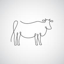 One Line Cow Design Silhouette