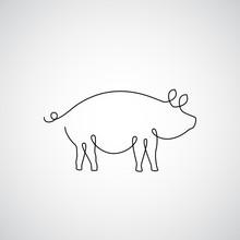One Line Pig Design Silhouette
