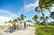 canvas print picture - Bright scenic morning view of the beachfront promenade in Lummus Park adjacent to historic Ocean Drive in South Beach, Miami, Florida