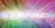 Leinwandbild Motiv Rainbow Spiralling Vortex Background Banner - beautiful ethereal radiating gaseous energy  field with a spiral on left side traversing a white energy trail across to the right side with copy space