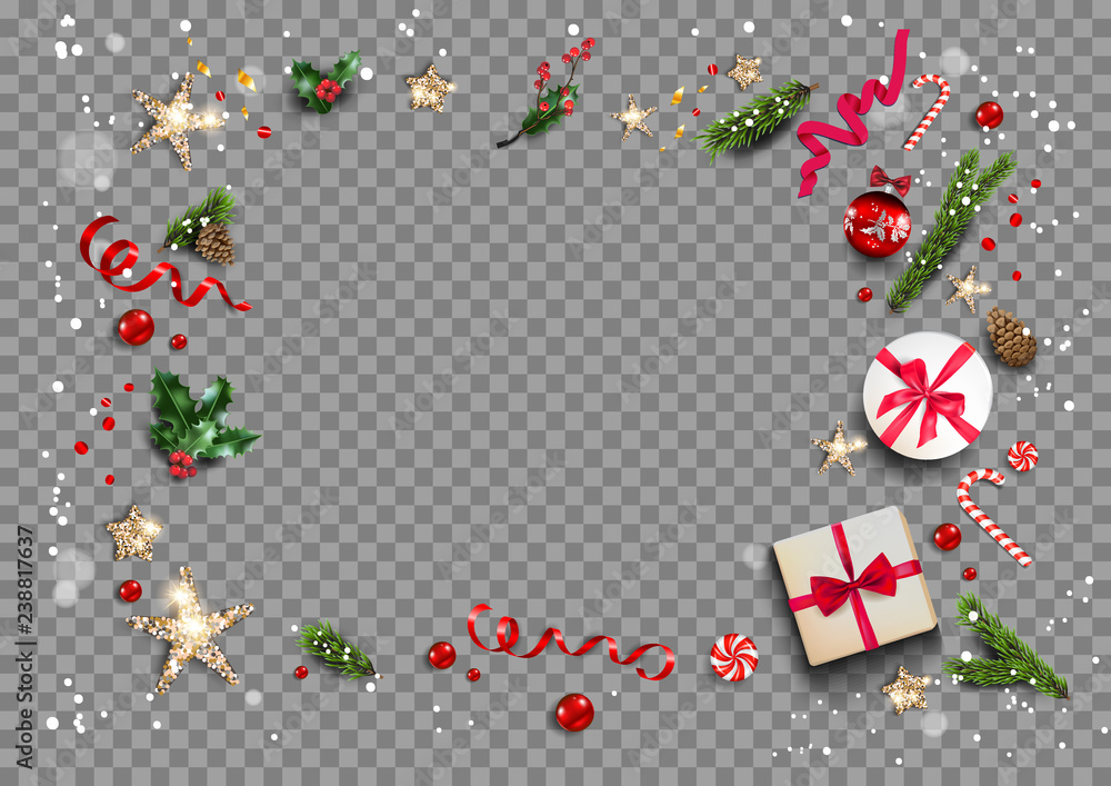 Fototapeta Holiday card with festive card and decorations balls, stars, snowflakes on transparent background. Christmas festive template.