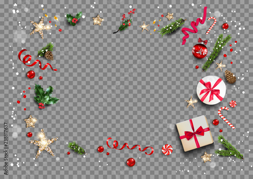 Obraz Holiday card with festive card and decorations balls, stars, snowflakes on transparent background. Christmas festive template. - fototapety do salonu