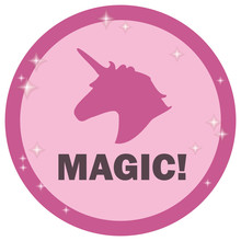Pink Road Sign With Outline Unicorn Pattern And Magic Inscription On White Background Vector.