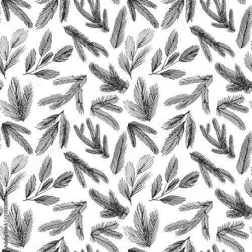 Fototapeta Seamless pattern with vector spruce branches. Winter and Christmas decoration. Hand drawn ornament for wrapping paper.  obraz