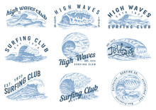 Wave Labels, Logos. Set Of Atlantic Tide Templates. Vintage Old Engraved Hand Drawn. Marine And Nautical Or Sea, Ocean Background For Banner Or Poster. Set Of Isolated Vector Illustration.