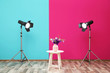 canvas print picture - Professional lighting equipment and vase with flowers on table near wall in photo studio